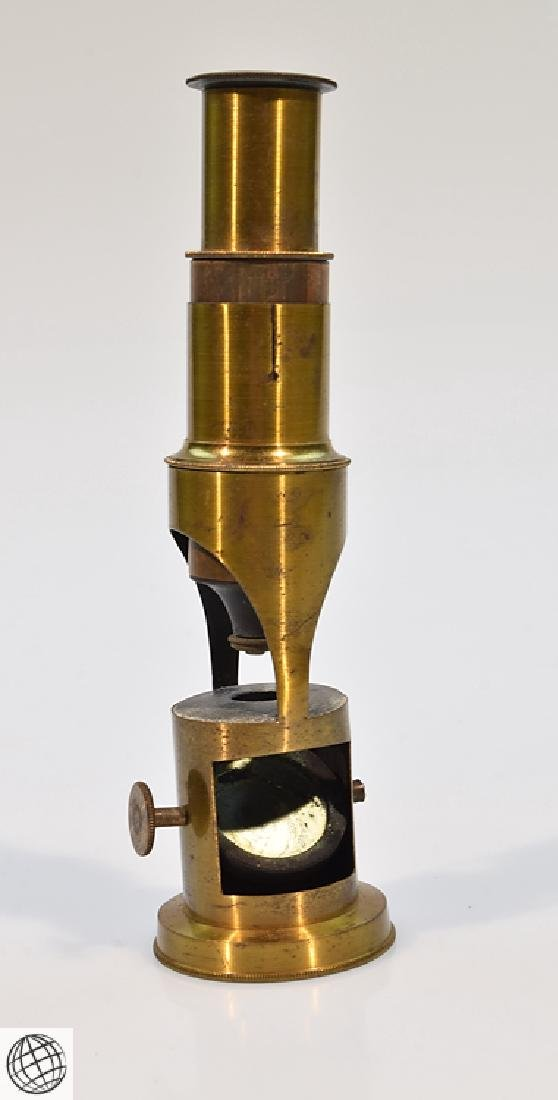 19th Century BRASS DRUM MICROSCOPE Field Mahogany Case - 2