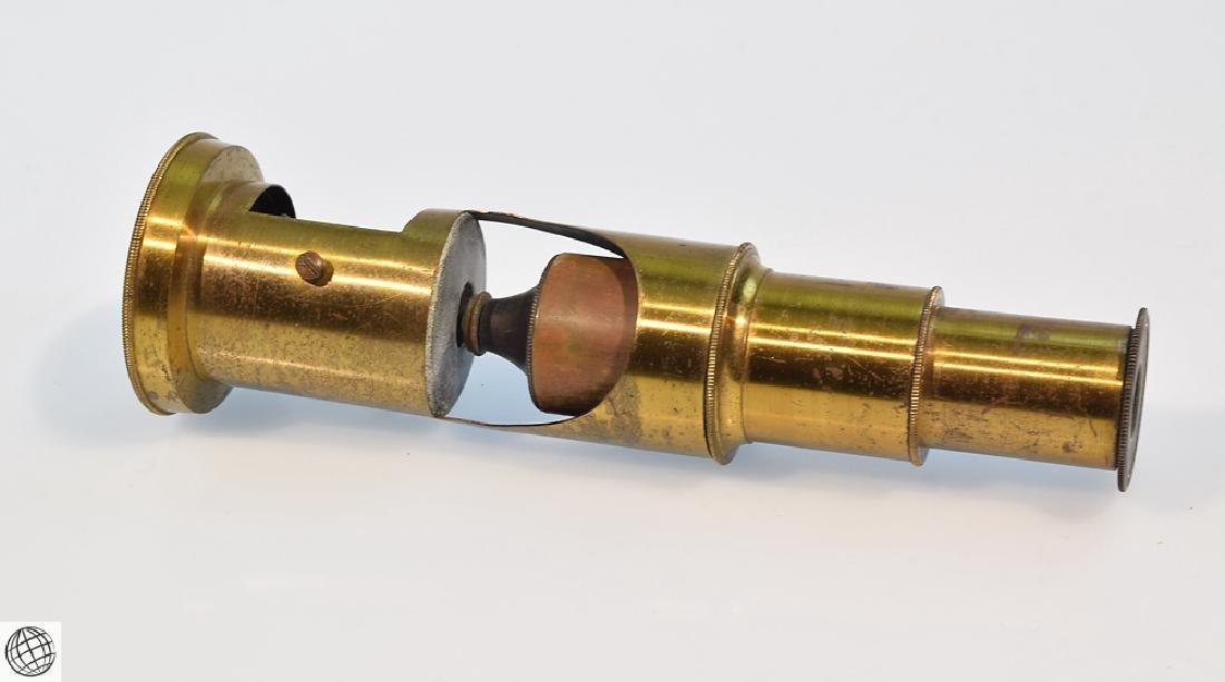 19th Century BRASS DRUM MICROSCOPE Field Mahogany Case - 4