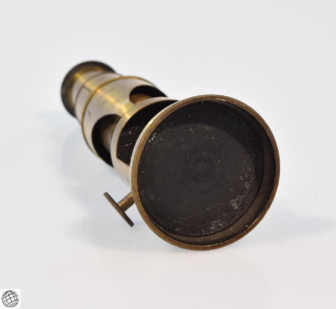 19th Century BRASS DRUM MICROSCOPE Field Mahogany Case - 7