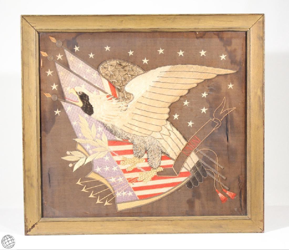 Antique Civil War 1865 EAGLE NEEDLEPOINT Framed Wood