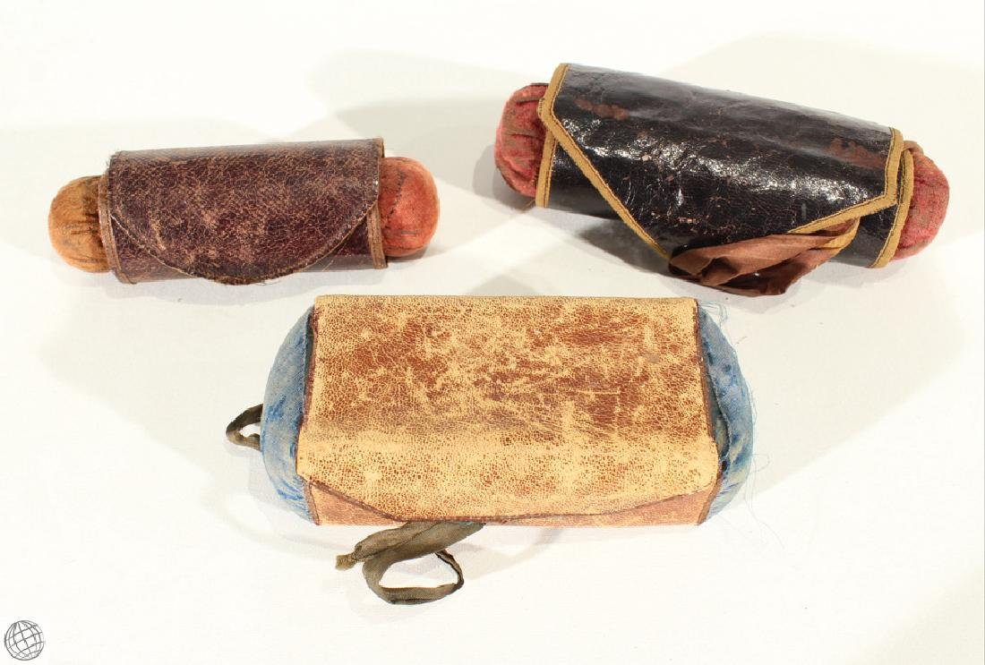 3Pcs Civil War Antique TRAVEL SEWING KIT CASES Leather