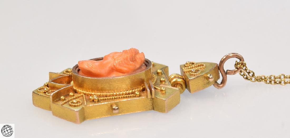 Antique 10K Gold ETRUSCAN REVIVAL Carved Coral Cameo - 5