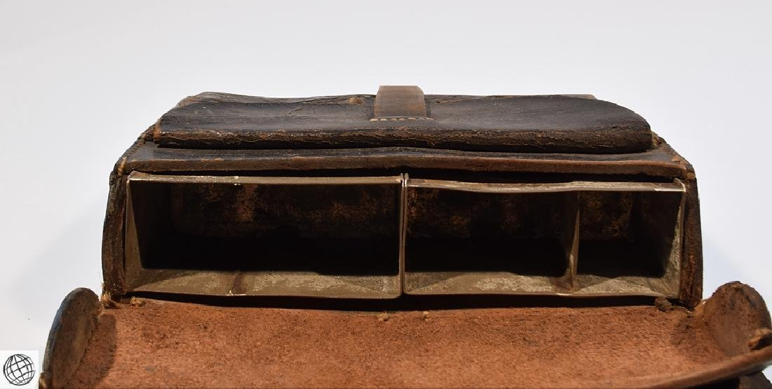 2Pcs Civil War CARTRIDGE BOX Stamped Leather - 10