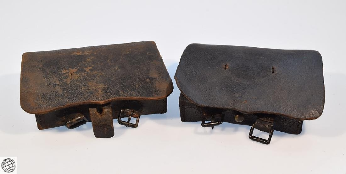 2Pcs Civil War CARTRIDGE BOX Stamped Leather