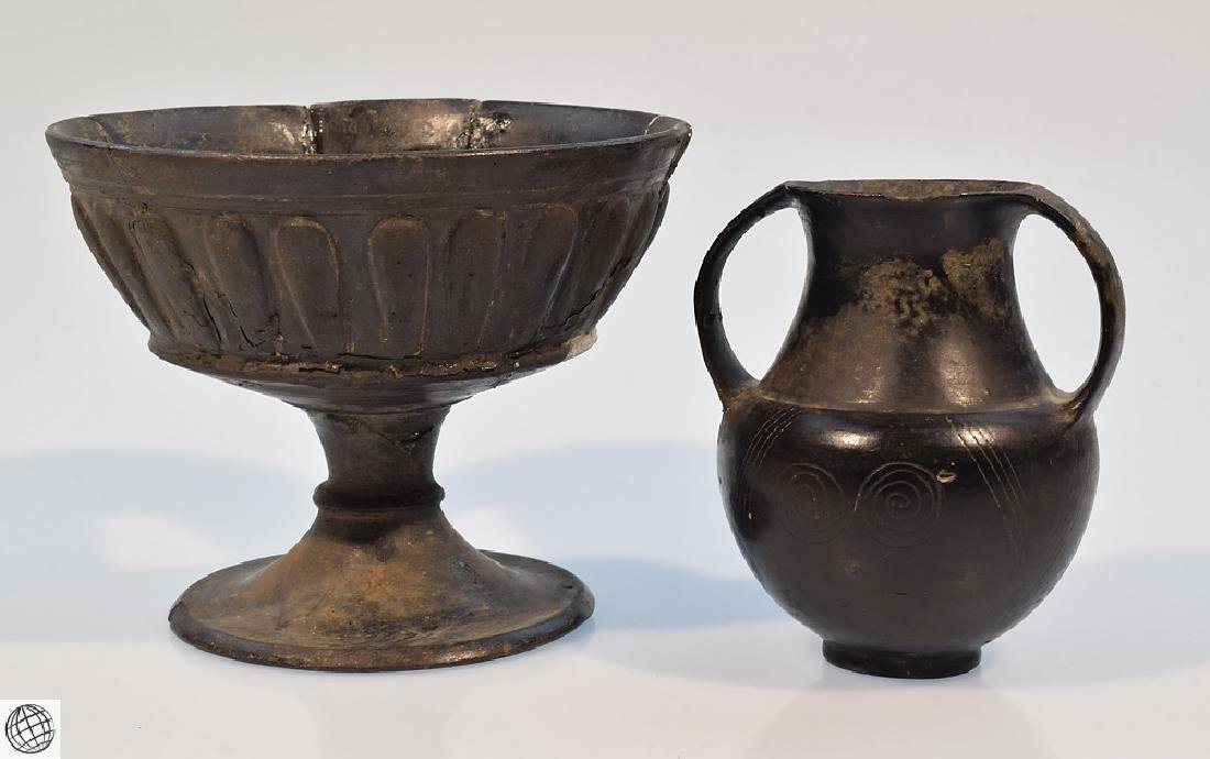 2Pcs Bucchero Chalice Kylix Vase ETRUSCAN POTTERY Black