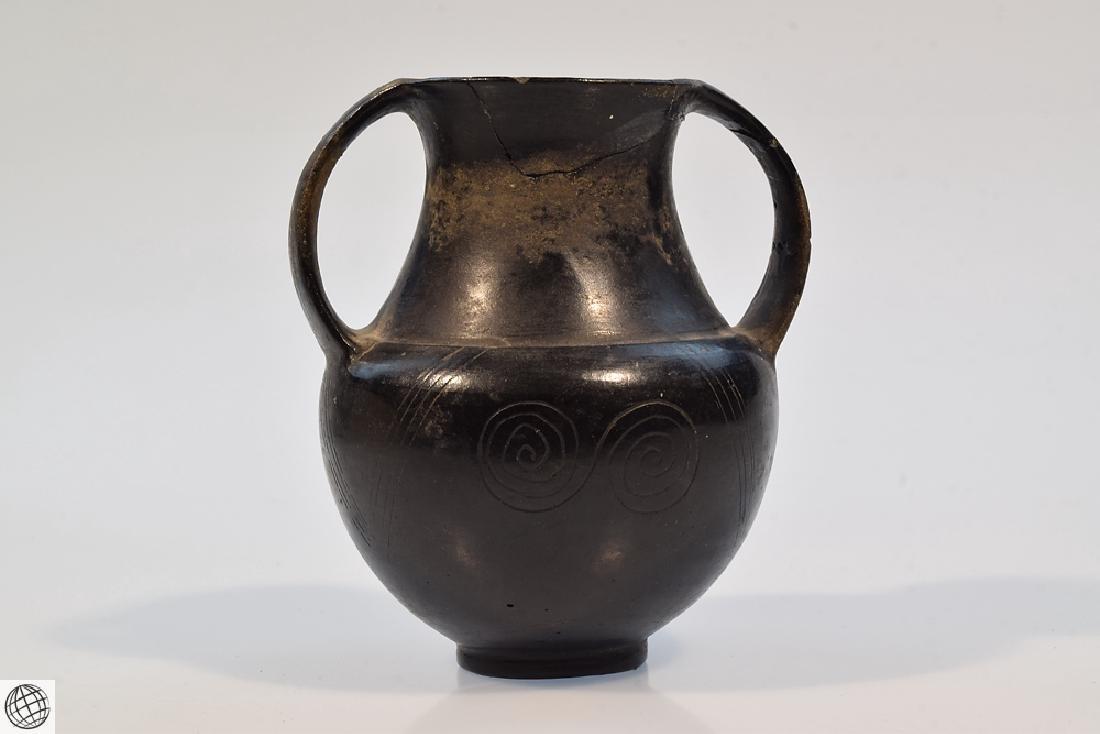 2Pcs Bucchero Chalice Kylix Vase ETRUSCAN POTTERY Black - 2