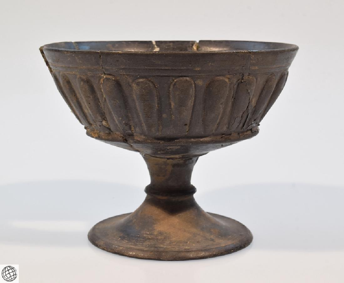 2Pcs Bucchero Chalice Kylix Vase ETRUSCAN POTTERY Black - 5