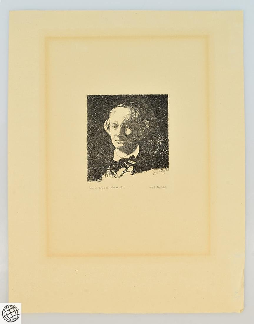 Charles Baudelaire EDOUARD MANET Plate Signed 1865