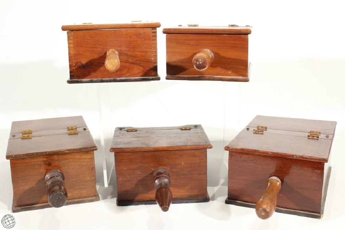 5Pcs Vintage WOODEN HANDHELD BALLOT VOTING BOXES Marble