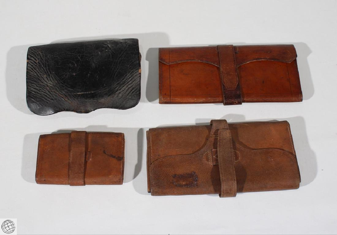 4Pcs Antique LEATHER WALLET BILLFOLD Civil War Estate