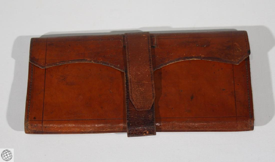 4Pcs Antique LEATHER WALLET BILLFOLD Civil War Estate - 2