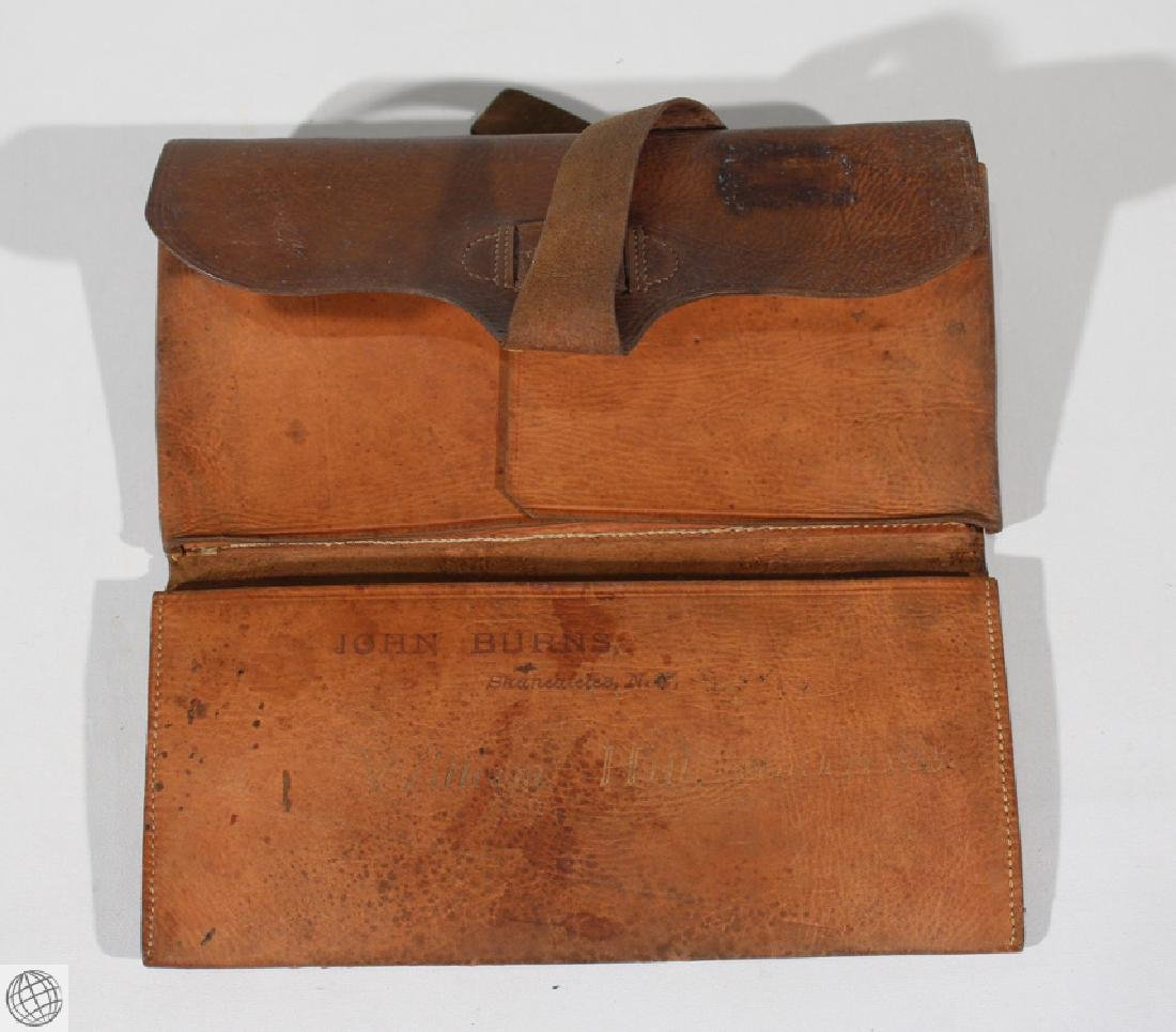 4Pcs Antique LEATHER WALLET BILLFOLD Civil War Estate - 6