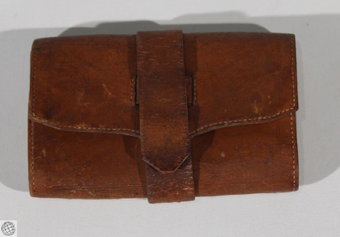 4Pcs Antique LEATHER WALLET BILLFOLD Civil War Estate - 8