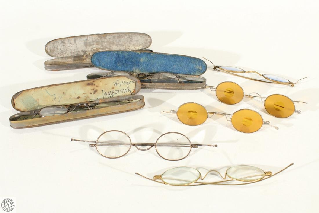 10Pcs Civil War Era ANTIQUE EYEGLASSES AND CASES