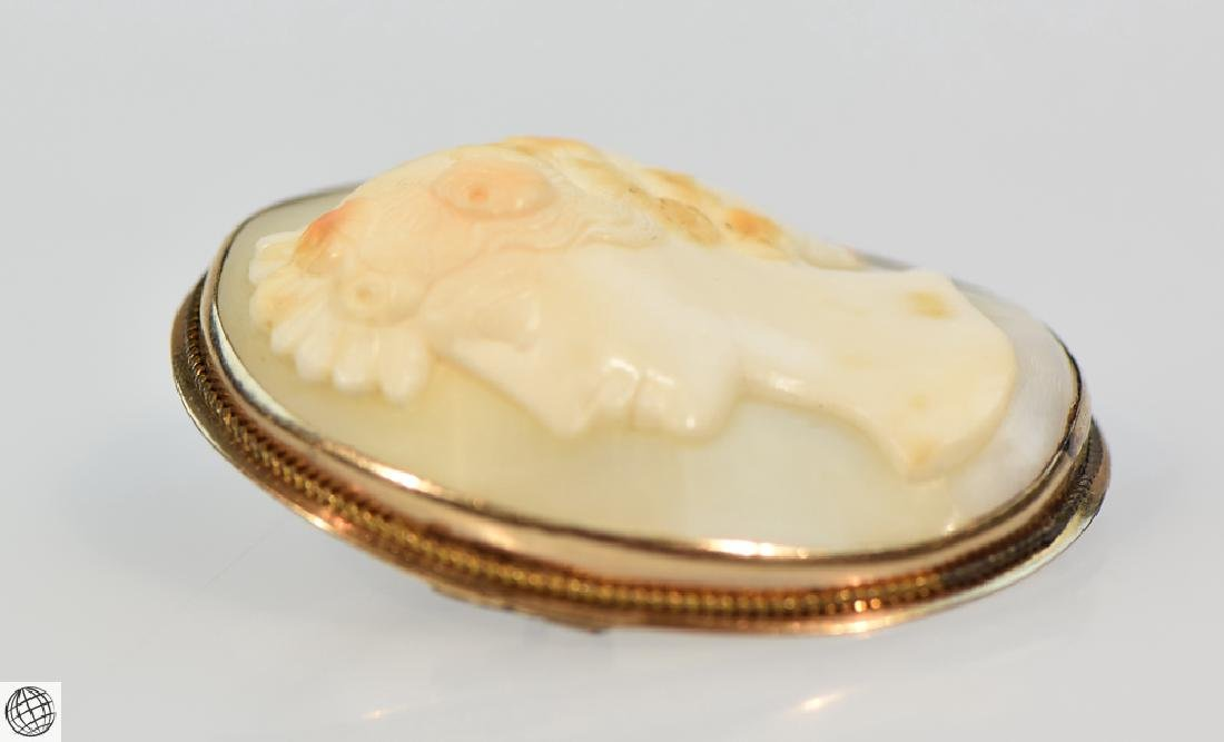 Antique 10K Gold Victorian CARVED SHELL CAMEO Brooch - 2