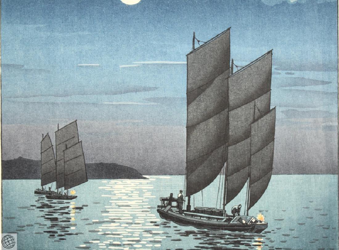 Boats At Shinagawa TSUCHIYA KOITSU Original Vintage - 3