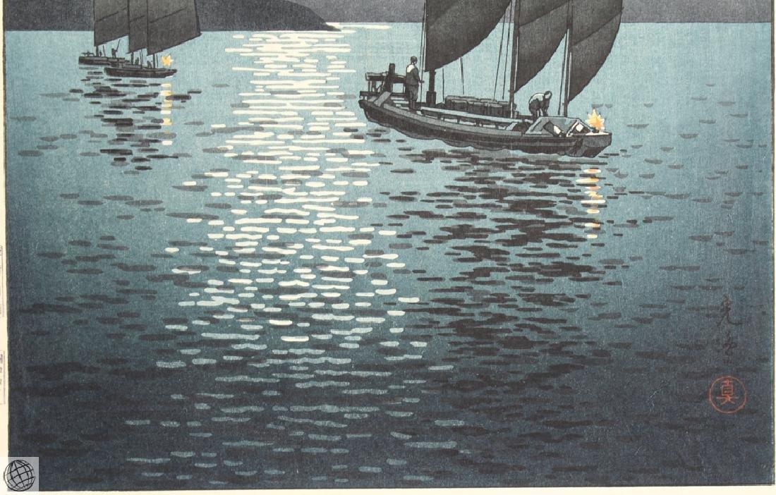 Boats At Shinagawa TSUCHIYA KOITSU Original Vintage - 4