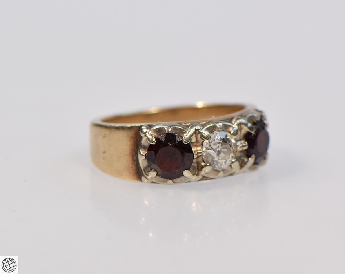 14k Gold OLD EUROPEAN CUT DIAMOND AND GARNET RING 1920