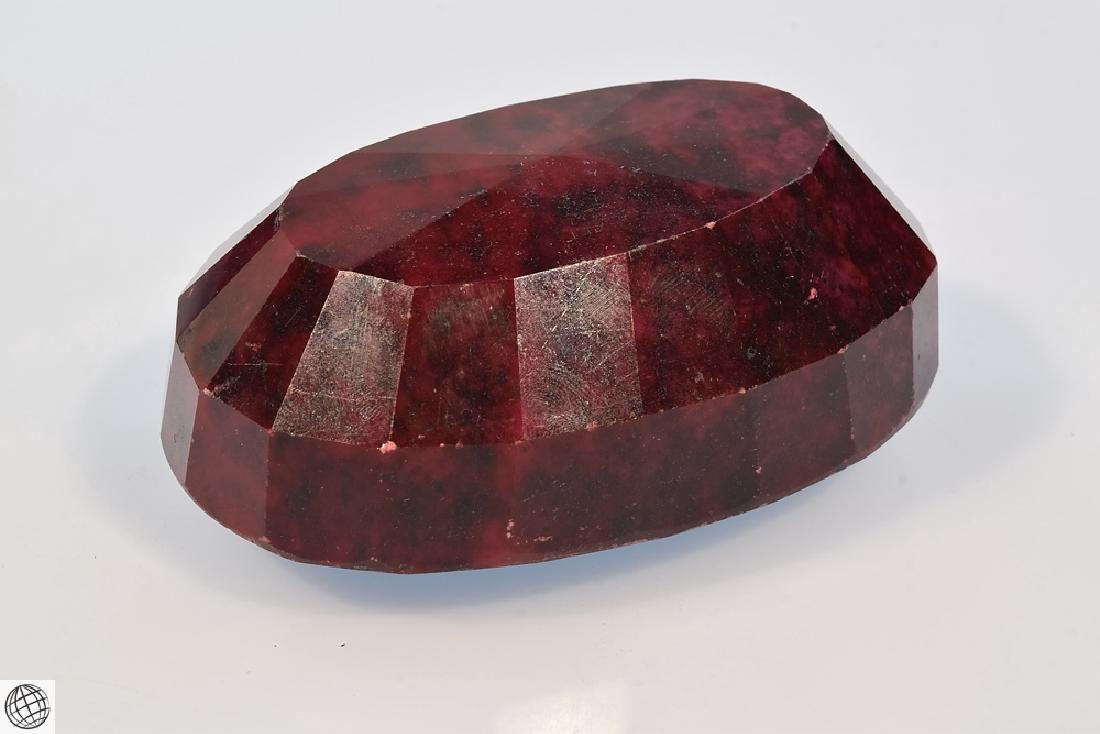 Oval Dyed CORUNDUM RUBY Faceted Gemstone Opaque Cut - 7