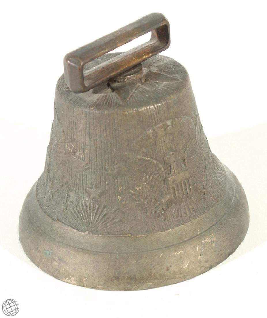 Rare US Army Cavalry CAMEL CORP BELL Brass Horse Eagle - 2