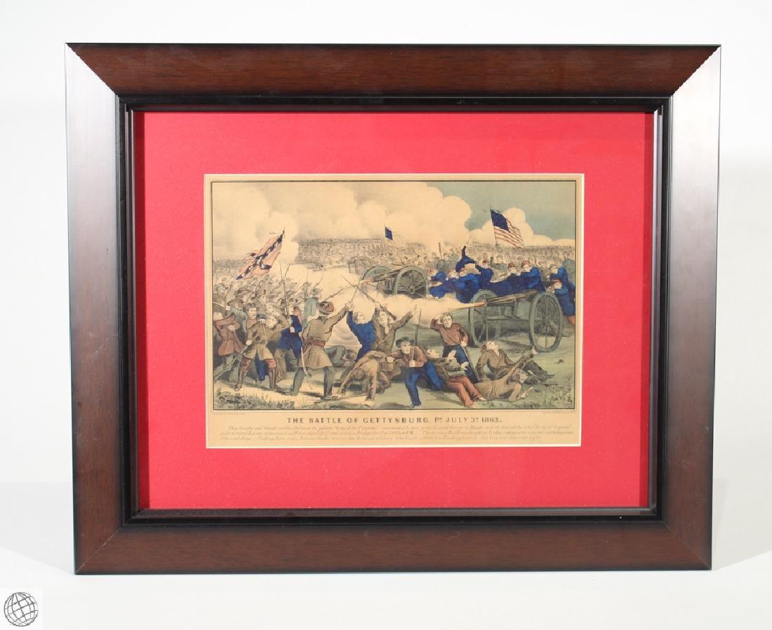 Gettysburg CURRIER & IVES Original Hand Colored