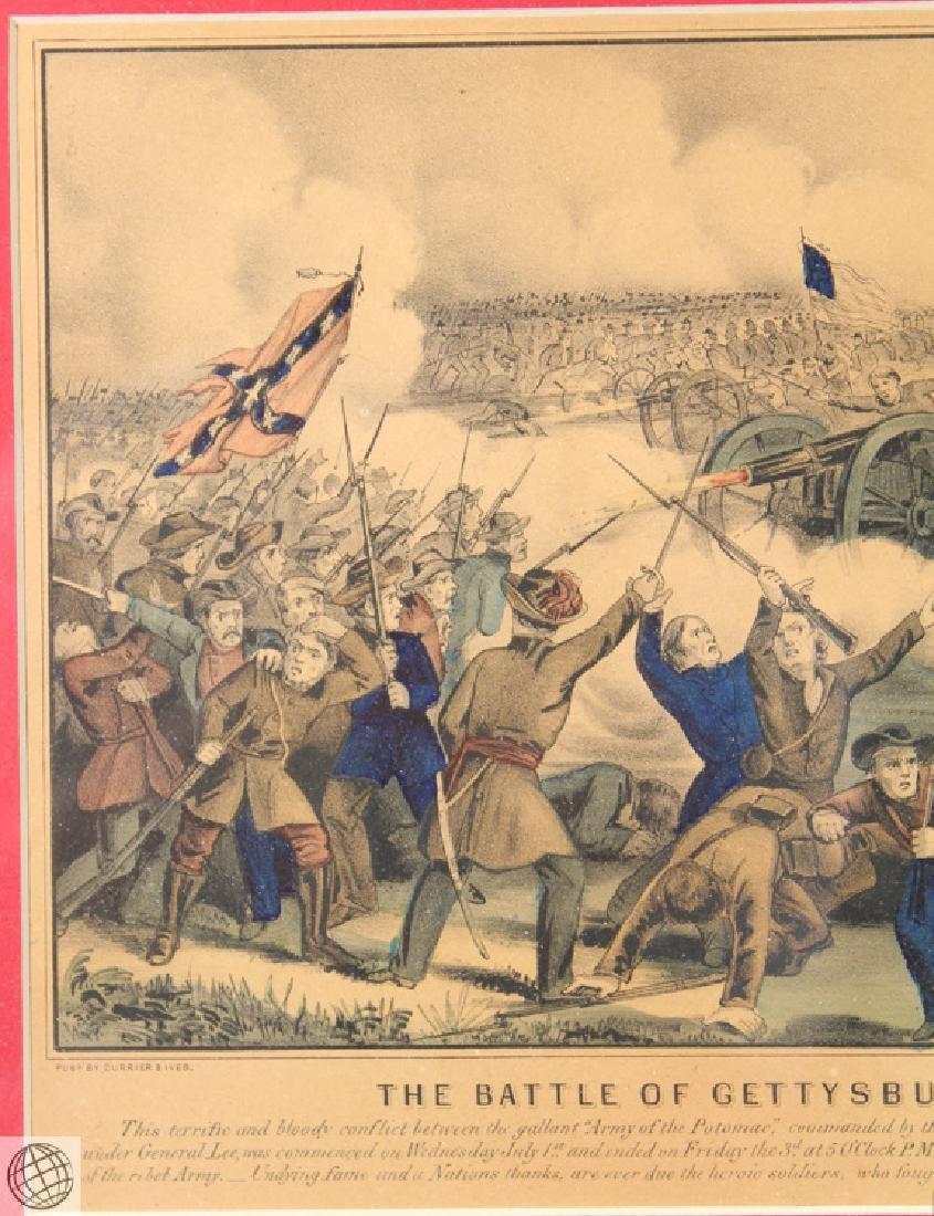 Gettysburg CURRIER & IVES Original Hand Colored - 3