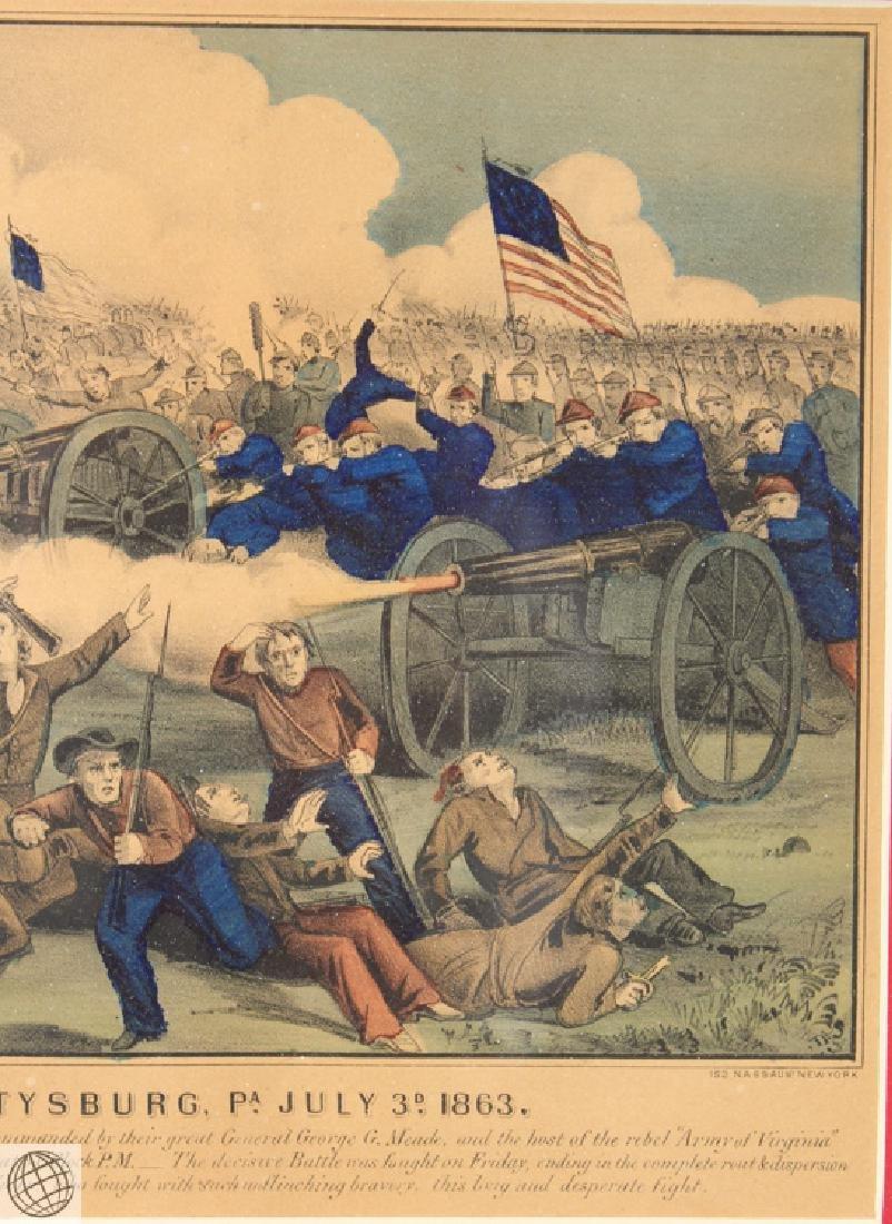 Gettysburg CURRIER & IVES Original Hand Colored - 4