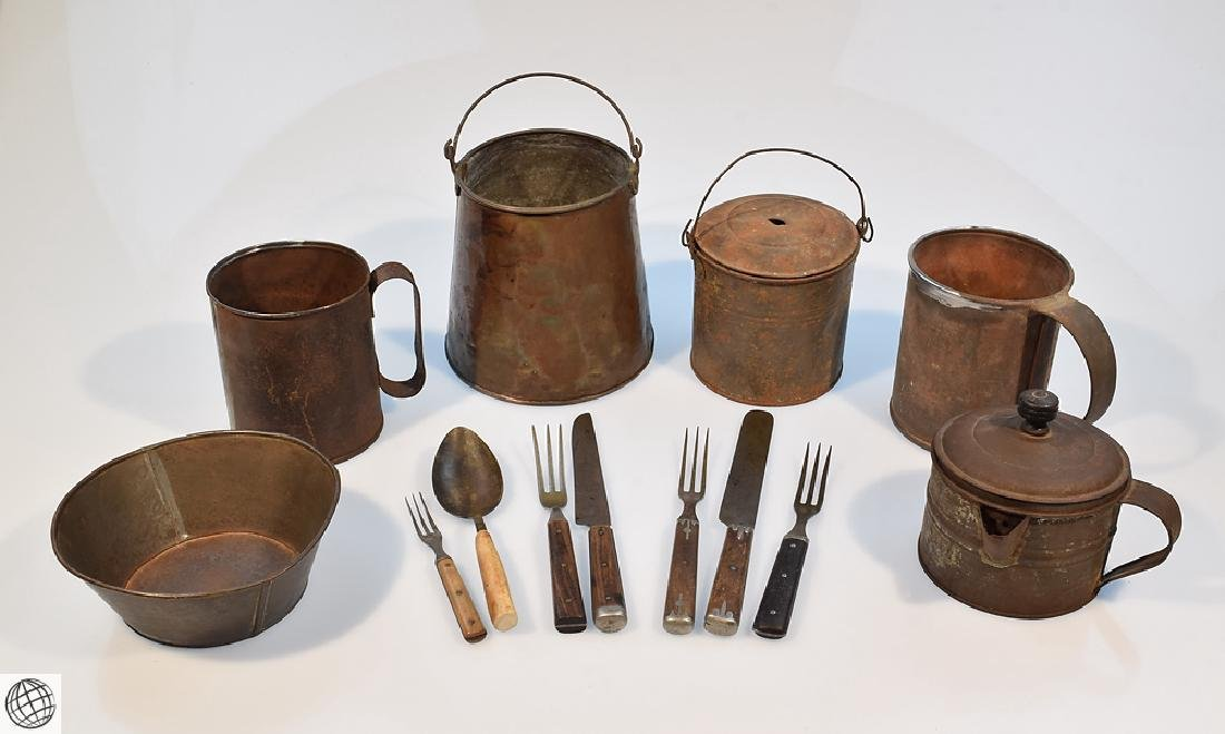 13Pcs MESS KIT Civil War Era Estate Metal Cooking
