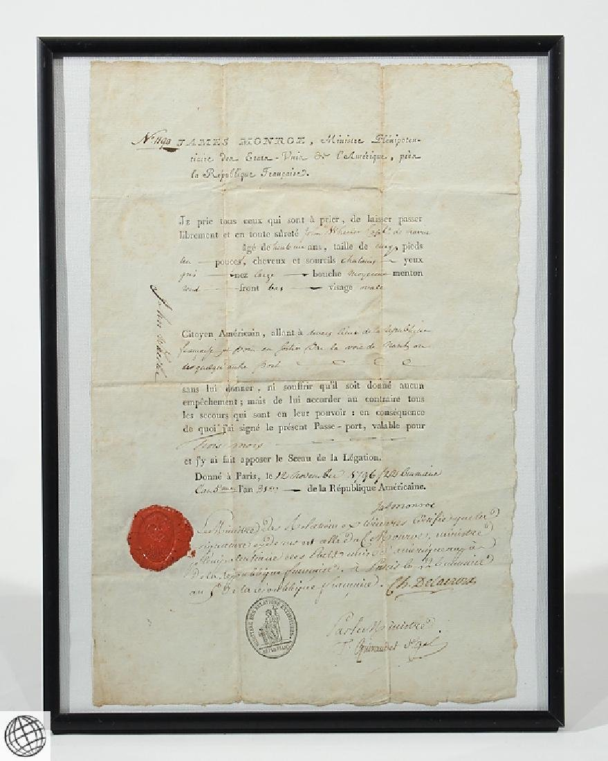 French US Passport SIGNED JAMES MONROE 1796 Minister