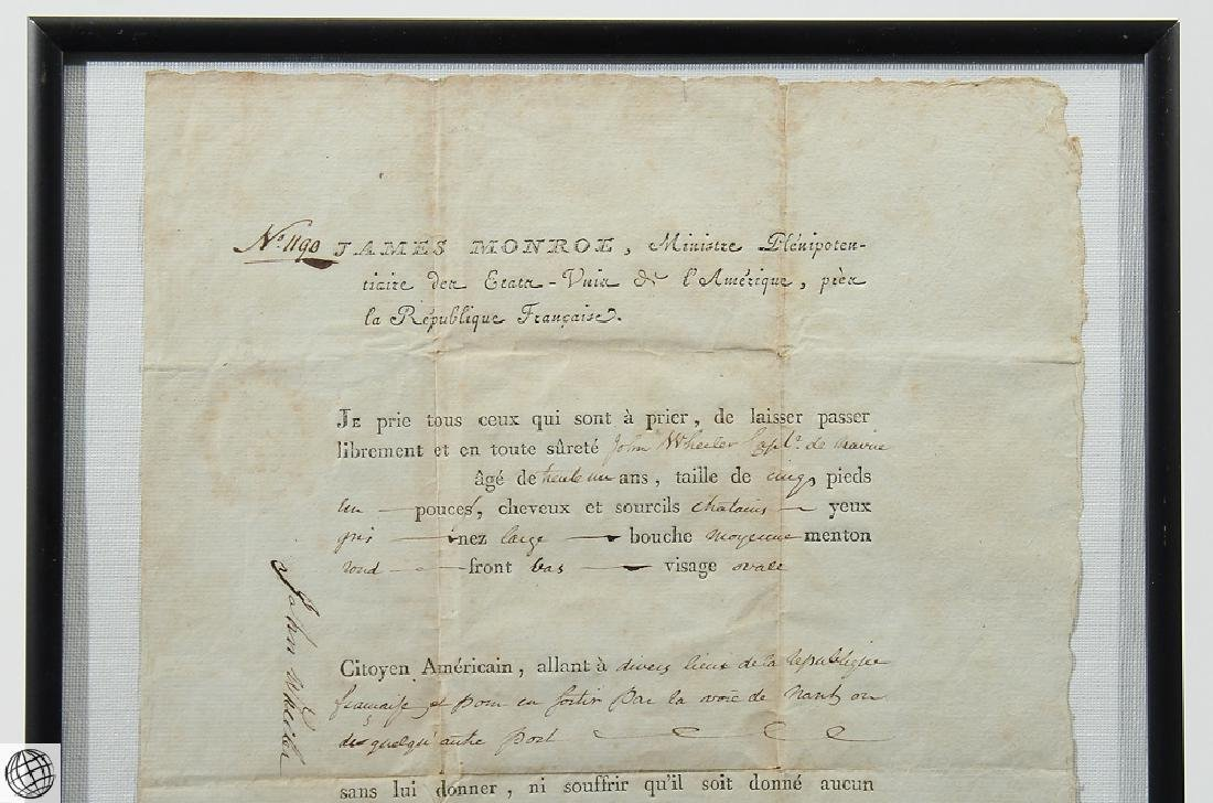 French US Passport SIGNED JAMES MONROE 1796 Minister - 2