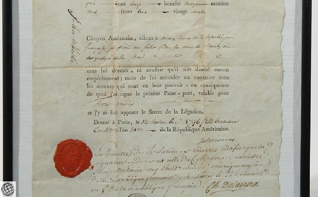 French US Passport SIGNED JAMES MONROE 1796 Minister - 3
