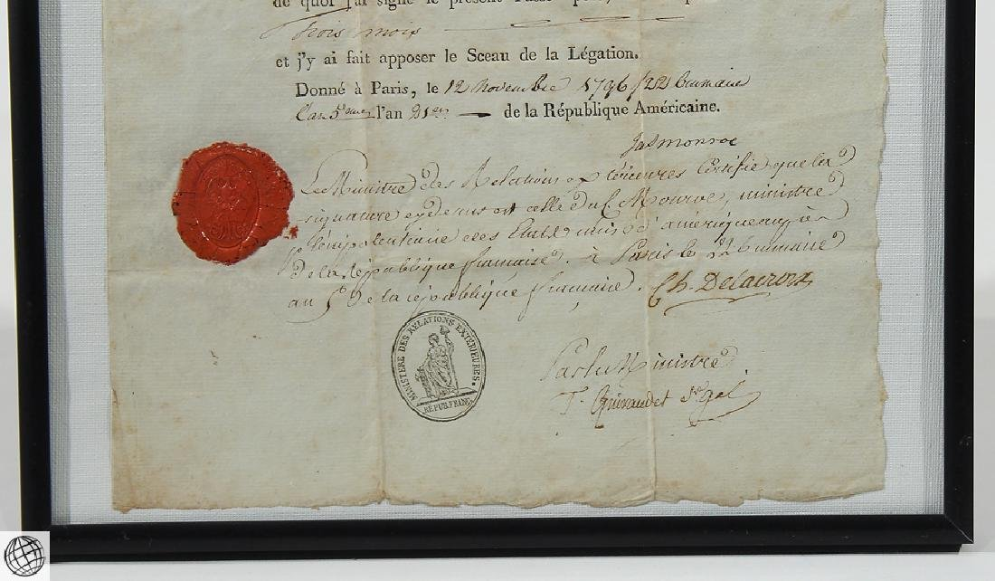 French US Passport SIGNED JAMES MONROE 1796 Minister - 4