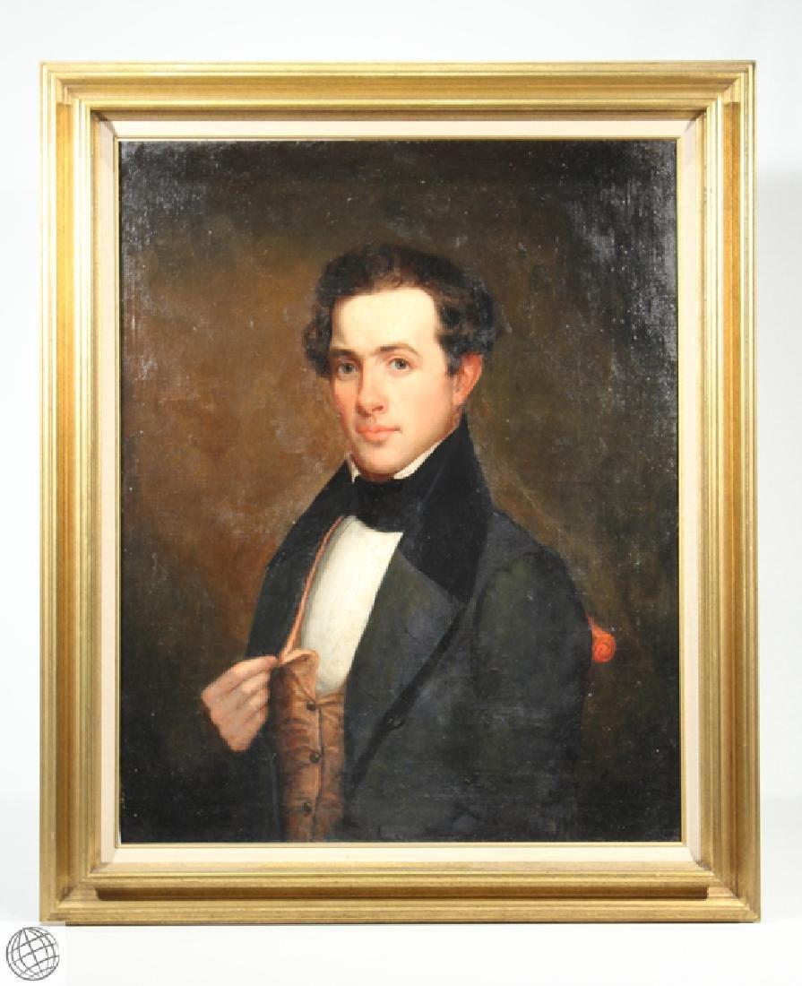 Oil Canvas Portrait Of An Erie County Gentleman Attr.
