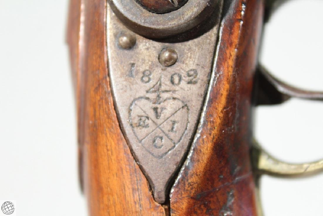 "East India Company FLINTLOCK PISTOL Rea Marked 1802 9"" - 8"
