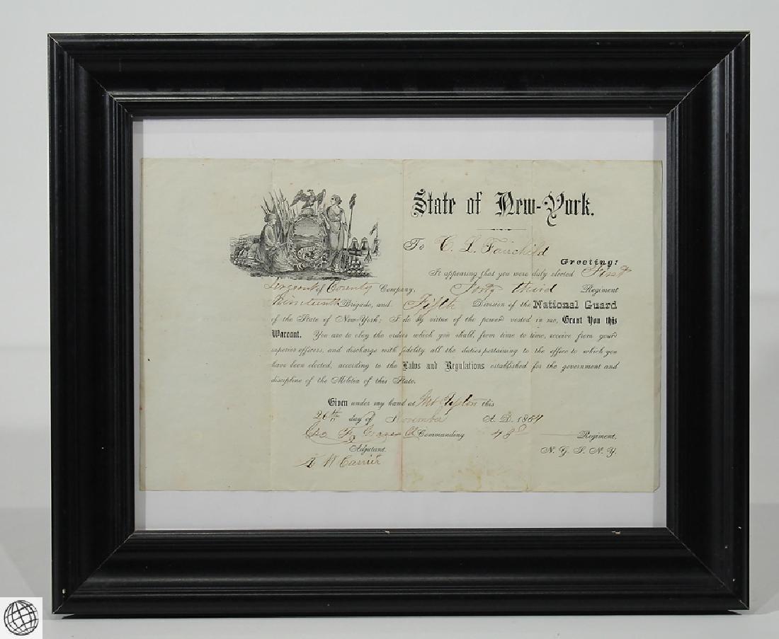 Antique Civil War Document MILITARY COMMISSION Officer