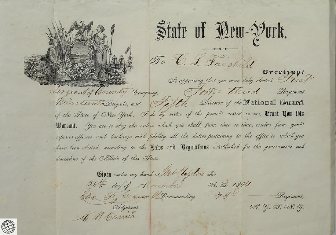 Antique Civil War Document MILITARY COMMISSION Officer - 4