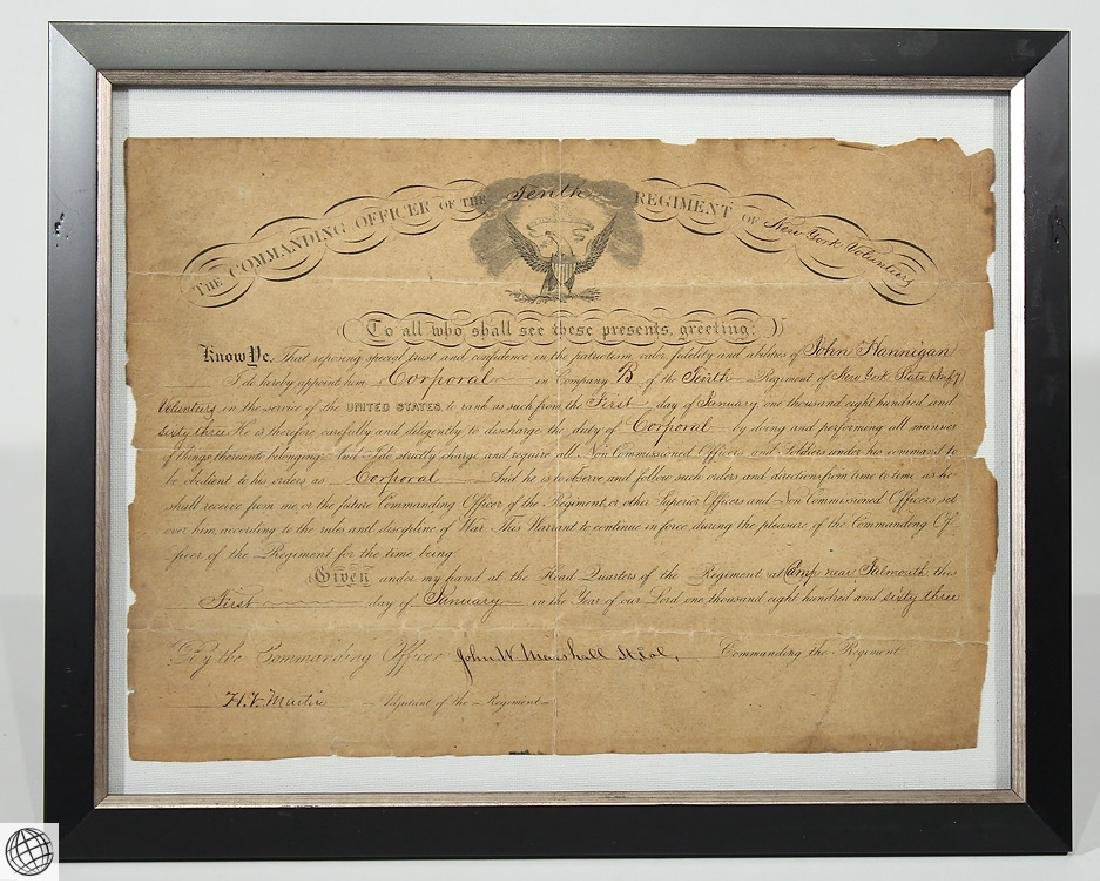 Antique Civil War Document MILITARY COMMISSION Officer