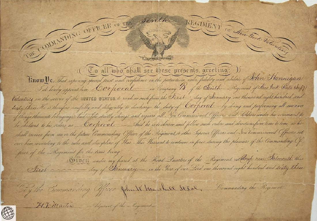 Antique Civil War Document MILITARY COMMISSION Officer - 4