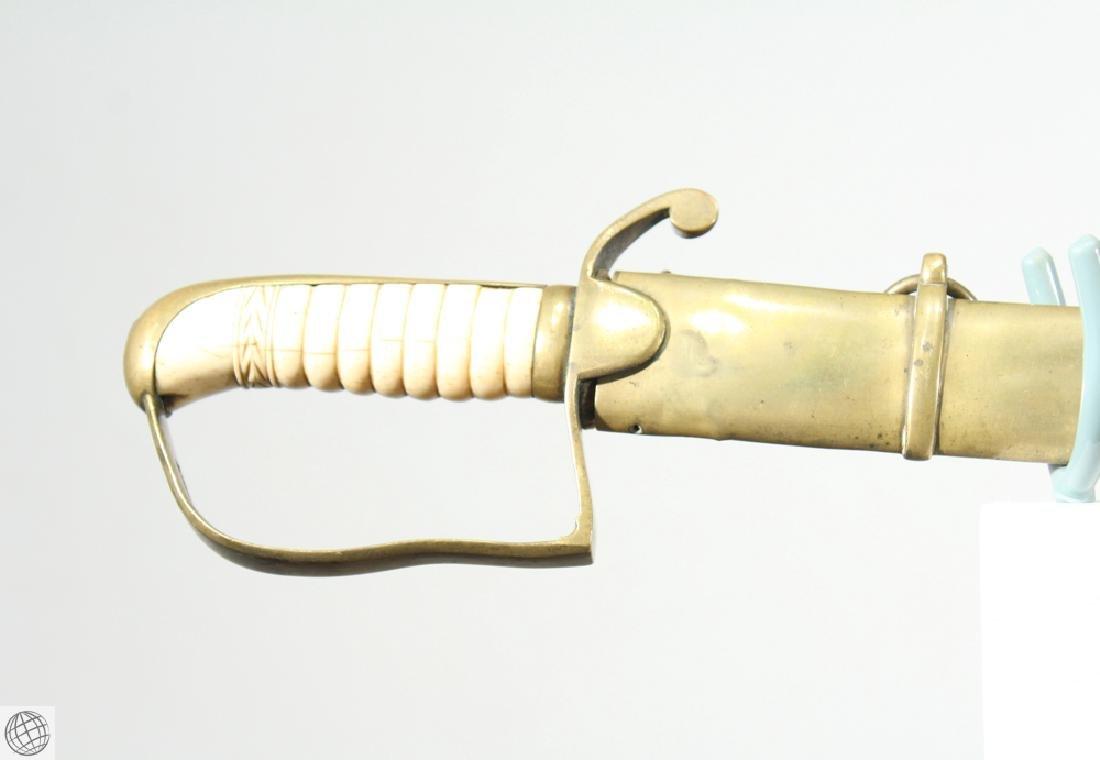 US MILITIA SWORD Brass Scabbard Bone Hilt Original - 2