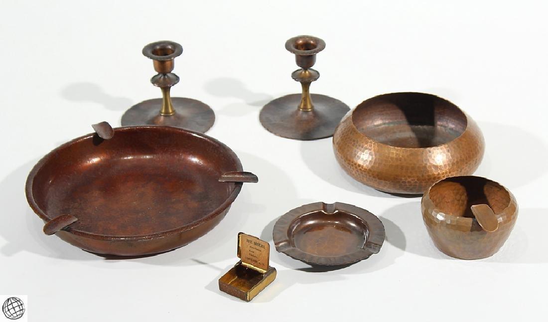 7Pcs Antique Collectible ROYCROFT ASHTRAYS CANDLESTICKS