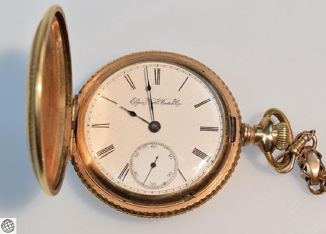 Antique 14k Gold C.1897 ELGIN HUNTER POCKET WATCH WITH - 4