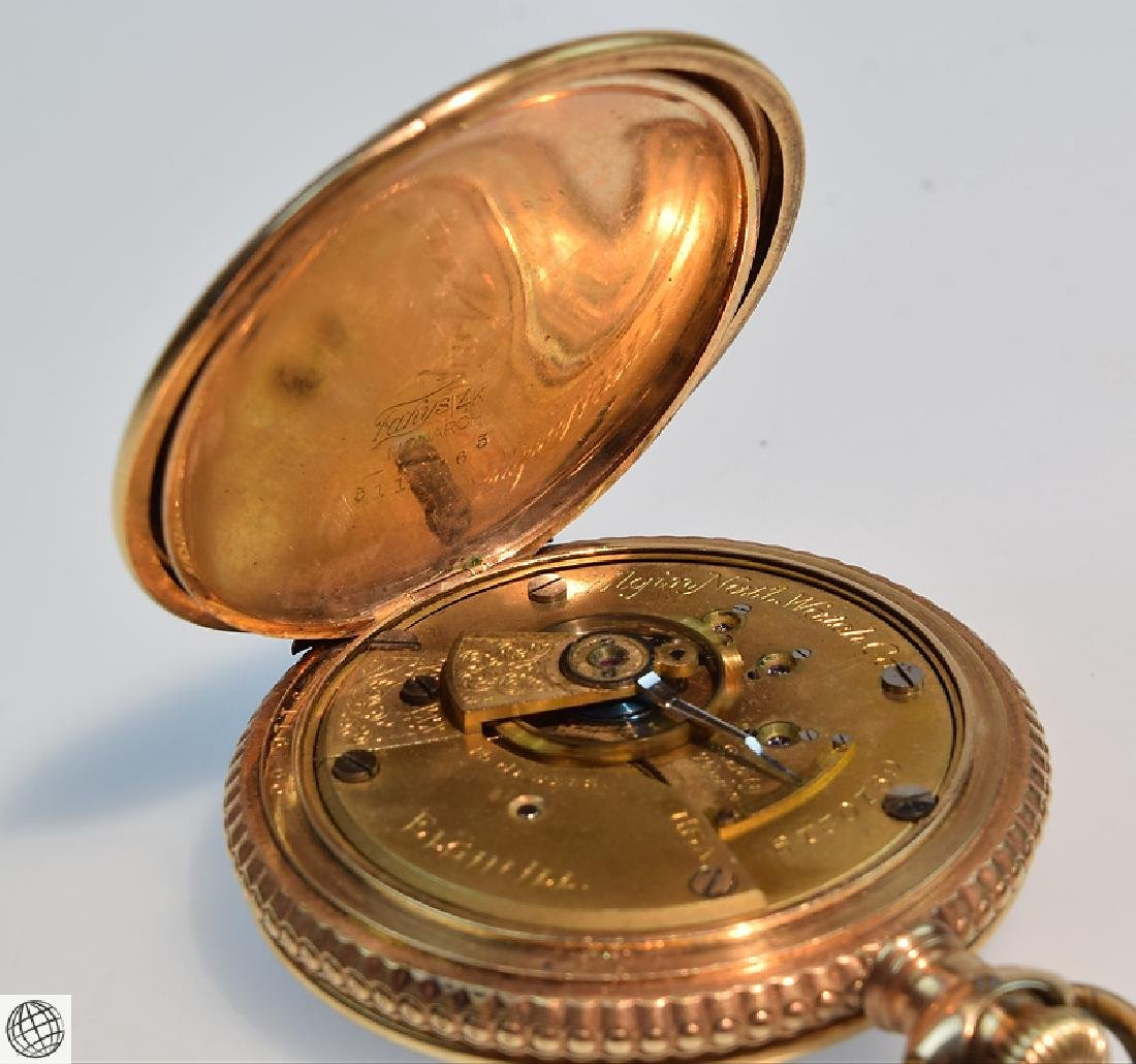 Antique 14k Gold C.1897 ELGIN HUNTER POCKET WATCH WITH - 7
