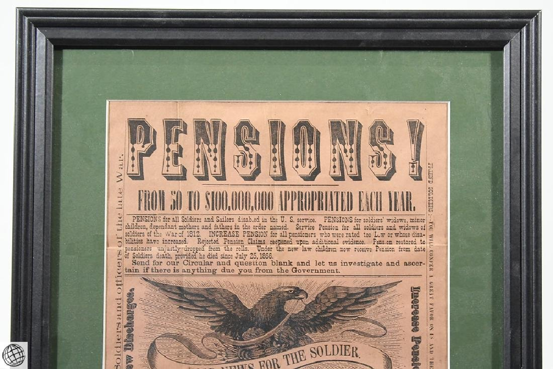 Antique Framed Original Print SOLDIERS PENSIONS - 4