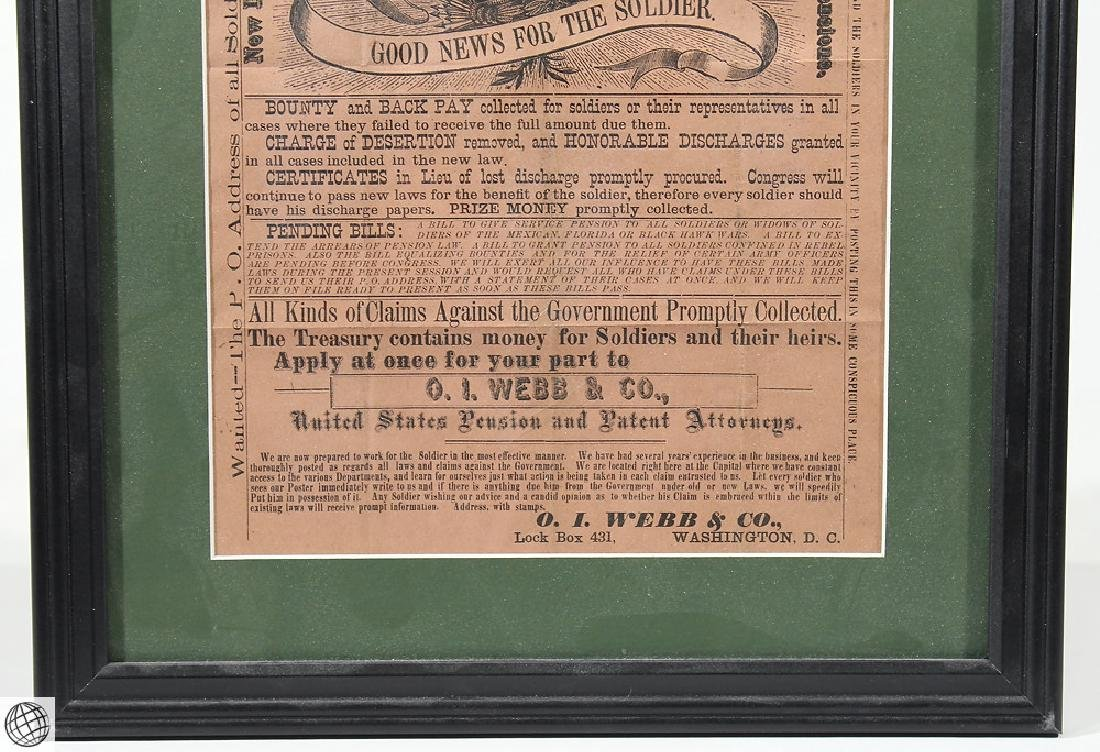 Antique Framed Original Print SOLDIERS PENSIONS - 5
