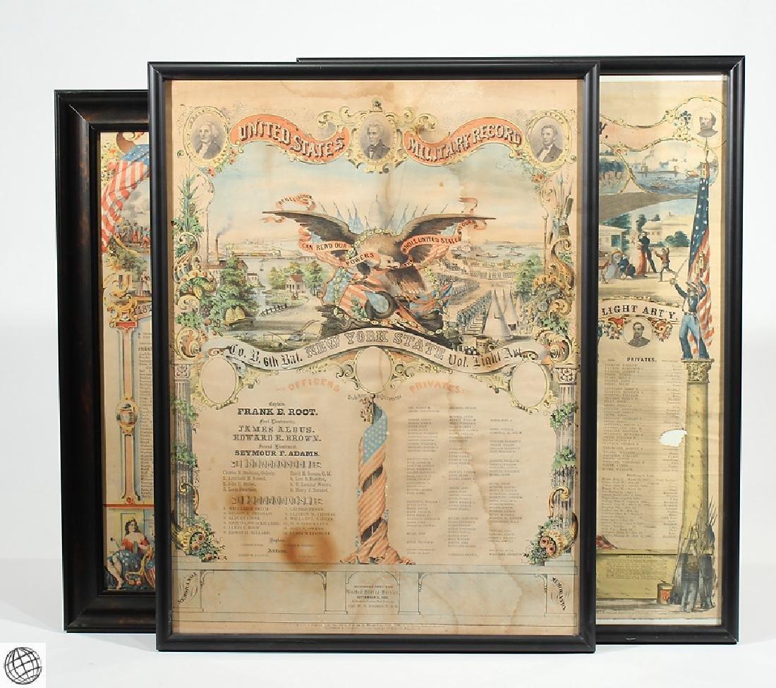 3Pcs Antique Civil War SOLDIERS MEMORIAL Lithographs