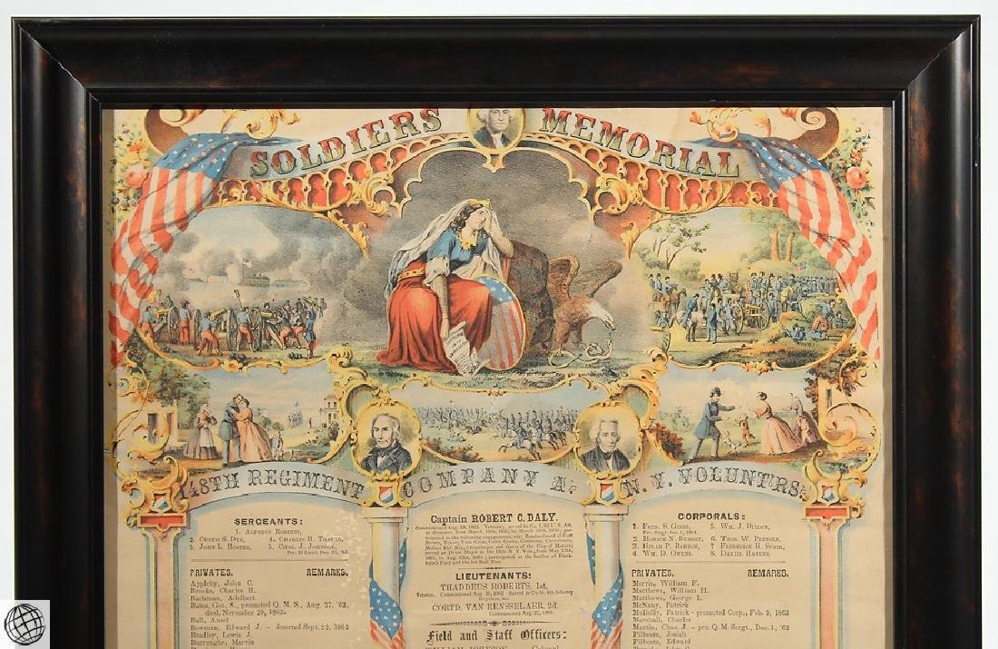 3Pcs Antique Civil War SOLDIERS MEMORIAL Lithographs - 5