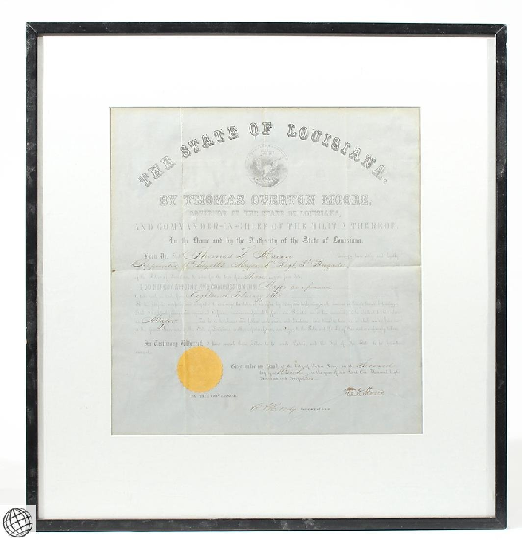 Confederate Civil War Commission SIGNED THOMAS OVERTON