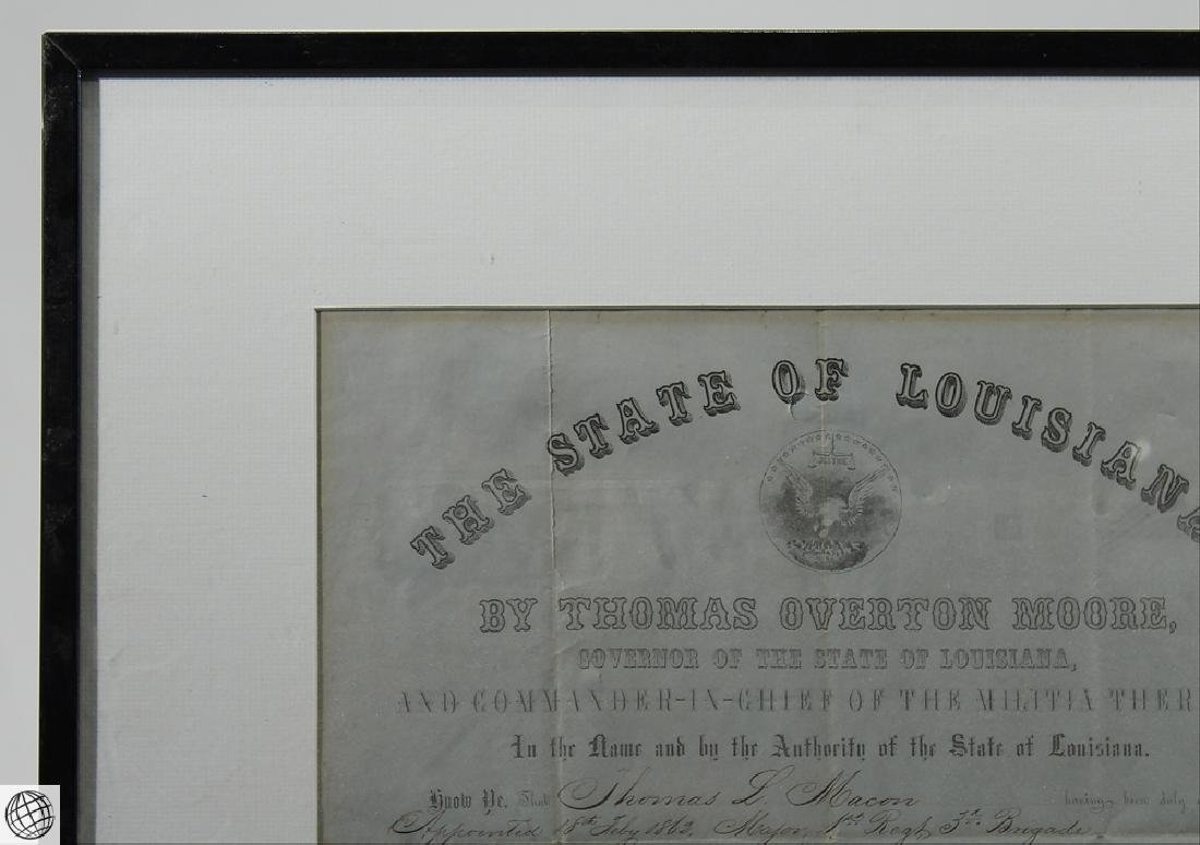 Confederate Civil War Commission SIGNED THOMAS OVERTON - 2