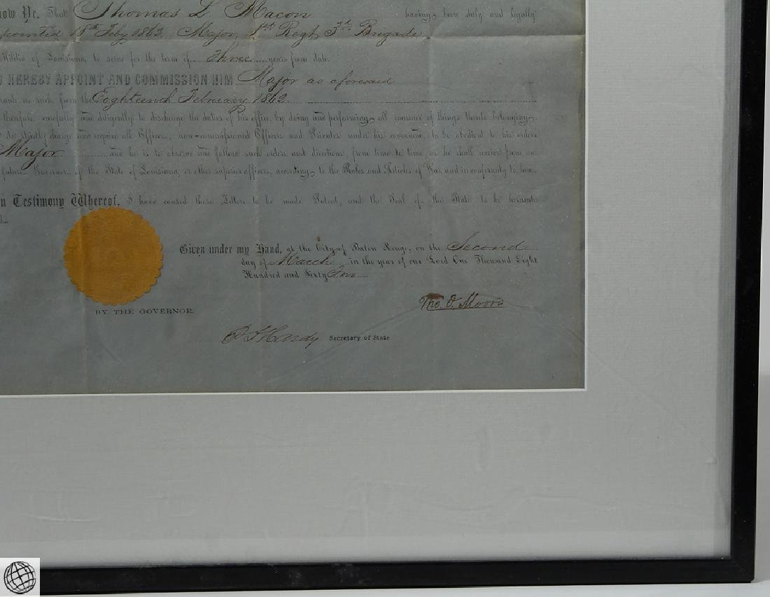 Confederate Civil War Commission SIGNED THOMAS OVERTON - 4