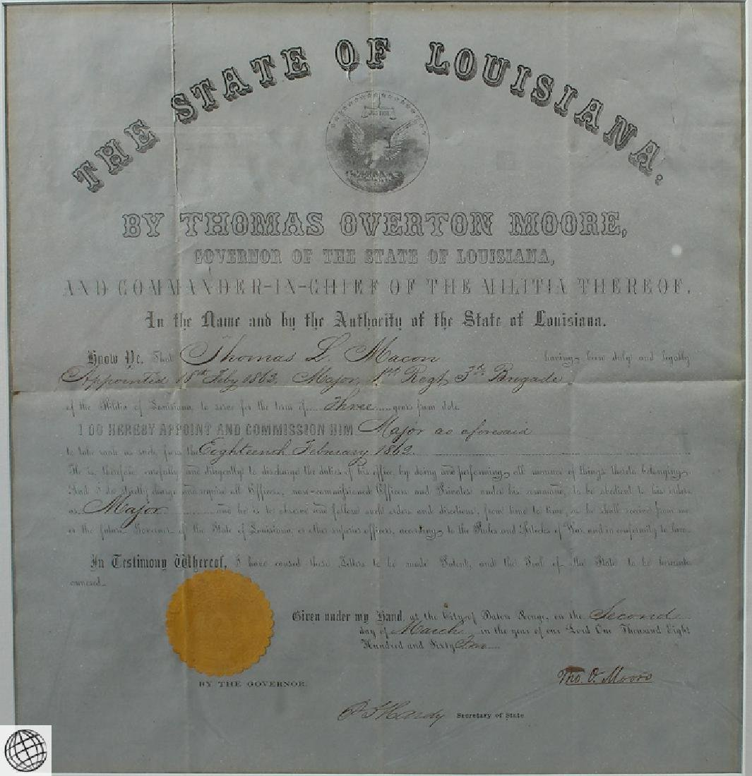 Confederate Civil War Commission SIGNED THOMAS OVERTON - 6